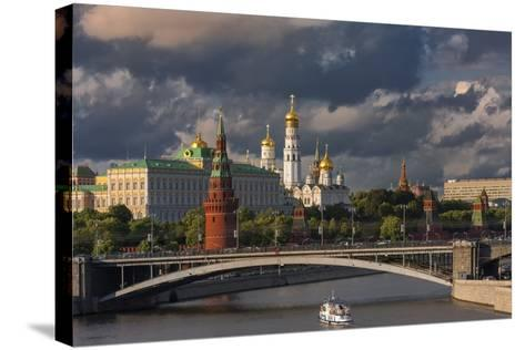 The Kremlin and Moscow River.-Jon Hicks-Stretched Canvas Print