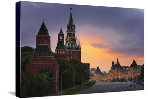 Red Square at Dusk.-Jon Hicks-Stretched Canvas Print
