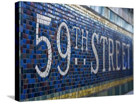59Th Street Subway Station Sign.-Jon Hicks-Stretched Canvas Print