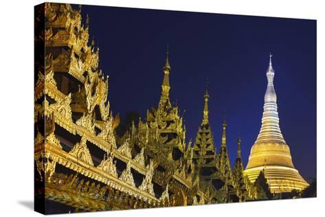 Shwedagon Paya at Night-Jon Hicks-Stretched Canvas Print