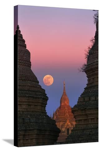 Moonrise over Bagan-Jon Hicks-Stretched Canvas Print