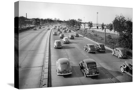 North Bound Lake Shore Drive in Chicago, Ca. 1946.-Kirn Vintage Stock-Stretched Canvas Print
