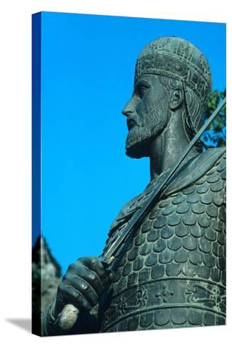 Detail of Statue of Constantine XI Palaiologos-Chris Hellier-Stretched Canvas Print