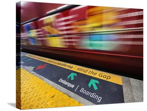 Mind the Gap Sign in a Metro Rio Station.-Jon Hicks-Stretched Canvas Print