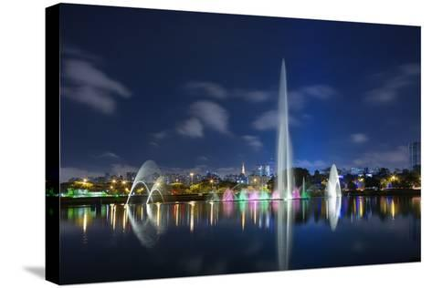 The Ibirapuera Park Fountain, Sao Paulo.-Jon Hicks-Stretched Canvas Print