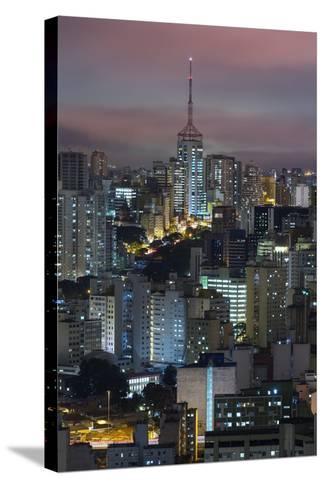 Sao Paulo Skyline at Night, Brazil.-Jon Hicks-Stretched Canvas Print