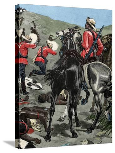 Anglo-Zulu War. Fought in 1879 between the British Empire and the Zulu Kingdom. Engraving. Colored.-Tarker-Stretched Canvas Print
