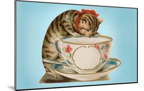 Kitten Lapping at Cup-Found Image Press-Mounted Giclee Print