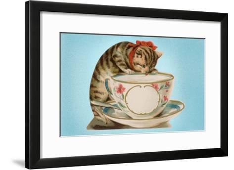 Kitten Lapping at Cup-Found Image Press-Framed Art Print