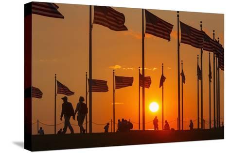 Washington DC Sunset.-Jon Hicks-Stretched Canvas Print