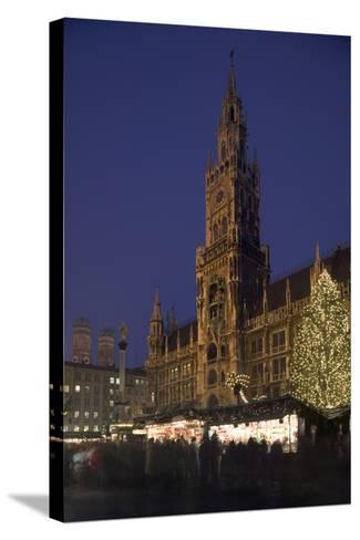 Christmas Tree in Marienplatz in Munich-Jon Hicks-Stretched Canvas Print