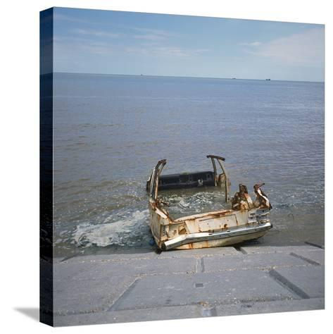 Car Wreck in Sea-Robert Brook-Stretched Canvas Print