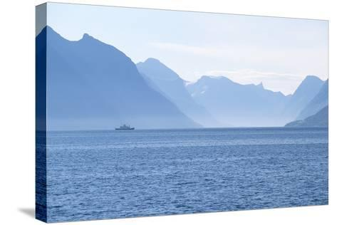 Ship and Mountains along the Austefjord, Norway-Paul Souders-Stretched Canvas Print