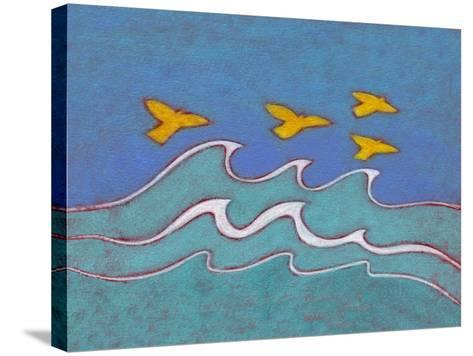 Illustration of Birds Flying above Sea-Marie Bertrand-Stretched Canvas Print