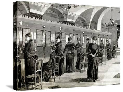 Telephone Service in Madrid. Central Office.-Tarker-Stretched Canvas Print