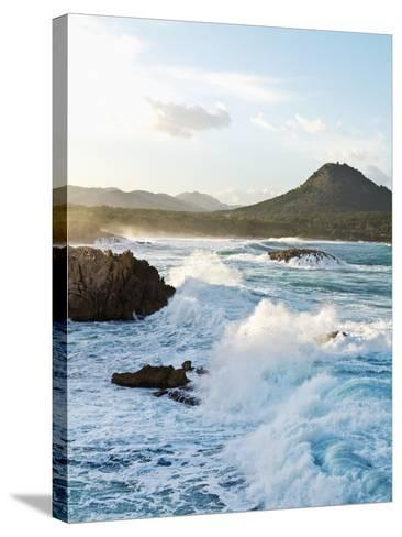 Waves Crashing on Rocks-Norbert Schaefer-Stretched Canvas Print
