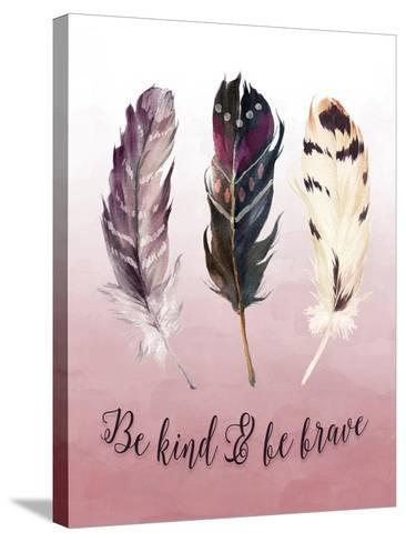Be Kind and Be Brave Pink-Tara Moss-Stretched Canvas Print