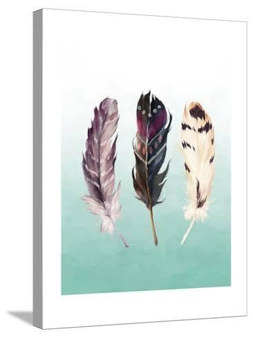 Feathers on Teal-Tara Moss-Stretched Canvas Print
