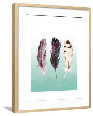 Feathers on Teal-Tara Moss-Framed Art Print