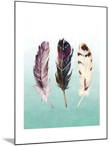 Feathers on Teal-Tara Moss-Mounted Art Print