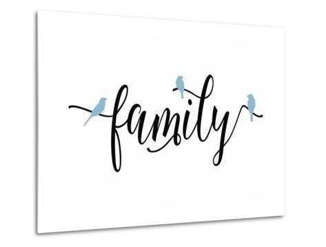 Family Blue Birds-Tara Moss-Metal Print