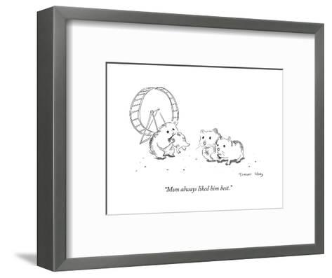 """Mom always liked him best."" - Cartoon-Trevor Hoey-Framed Art Print"