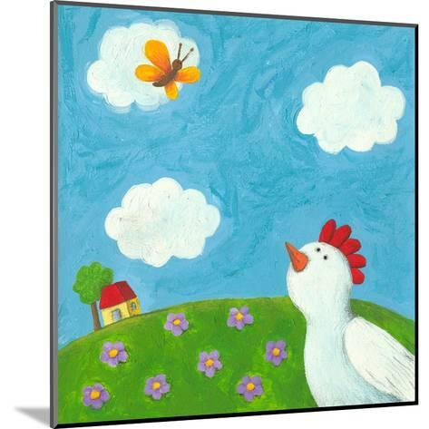 Funny Hen and Butterfly-andreapetrlik-Mounted Art Print