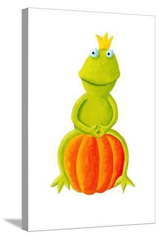 Frog Prince Sitting on Pumpkin-andreapetrlik-Stretched Canvas Print