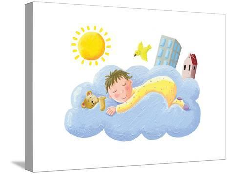 Baby Sleeping on Cloud-andreapetrlik-Stretched Canvas Print