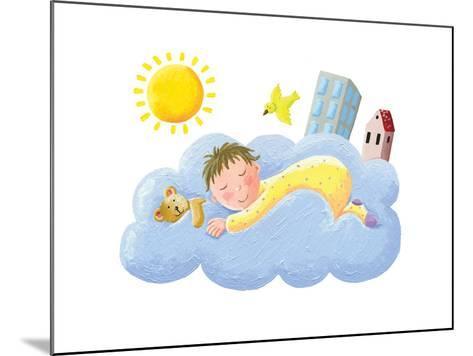 Baby Sleeping on Cloud-andreapetrlik-Mounted Art Print