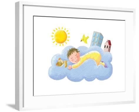 Baby Sleeping on Cloud-andreapetrlik-Framed Art Print