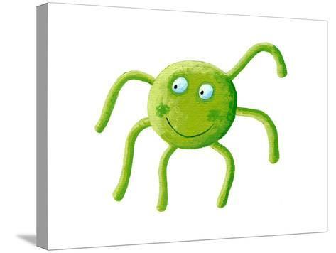 Cute Green Spider-andreapetrlik-Stretched Canvas Print