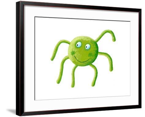 Cute Green Spider-andreapetrlik-Framed Art Print