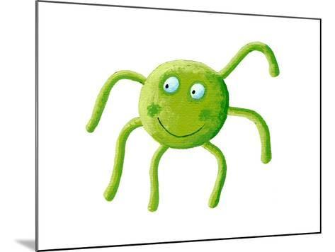 Cute Green Spider-andreapetrlik-Mounted Art Print