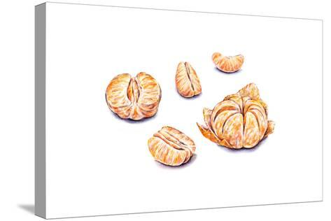 Ripe Watercolor Peeled Tangerines. Set for Design.-MargaritaSh-Stretched Canvas Print