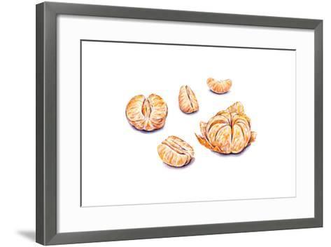 Ripe Watercolor Peeled Tangerines. Set for Design.-MargaritaSh-Framed Art Print