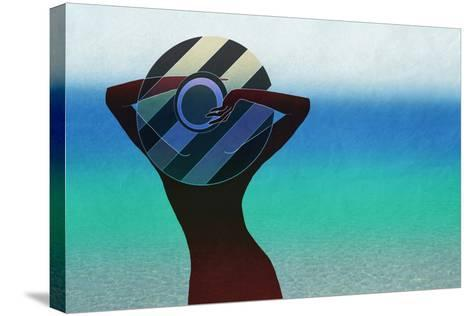Girl and on the Beach-vipa21-Stretched Canvas Print