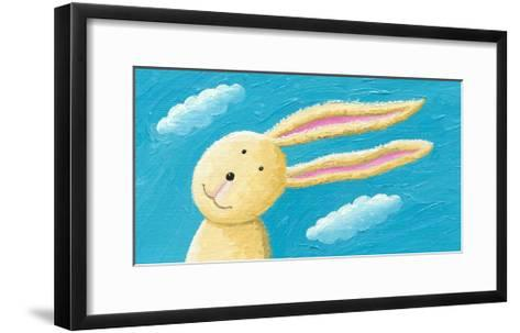 Cute Rabbit in the Wind-andreapetrlik-Framed Art Print