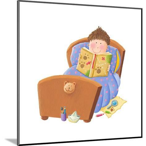 Boy Reading Bed Time Story-andreapetrlik-Mounted Art Print