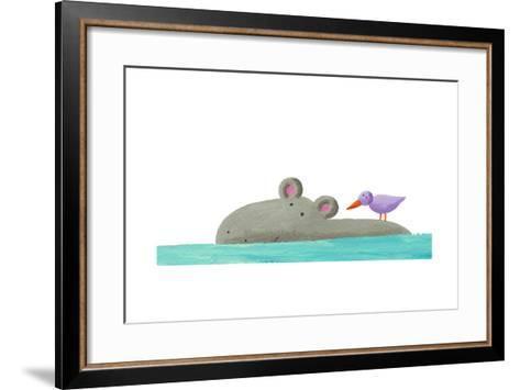 Funny Hippo Isolated-andreapetrlik-Framed Art Print