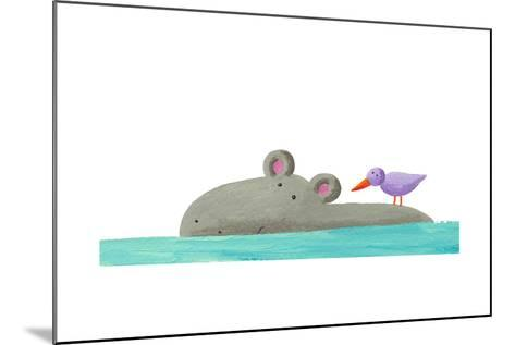 Funny Hippo Isolated-andreapetrlik-Mounted Art Print