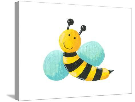 Cute Bee Flying-andreapetrlik-Stretched Canvas Print