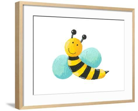 Cute Bee Flying-andreapetrlik-Framed Art Print