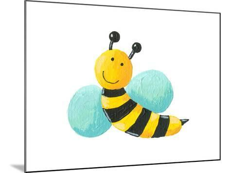 Cute Bee Flying-andreapetrlik-Mounted Art Print
