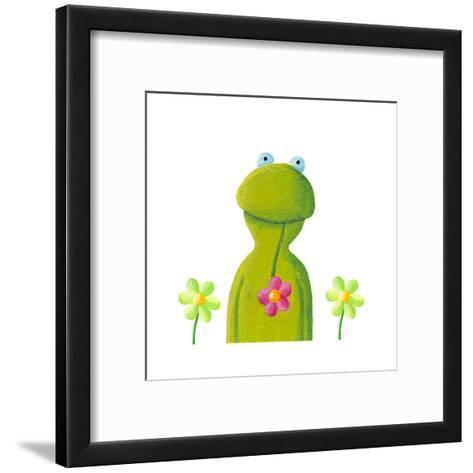Funny Frog in the Flowers-andreapetrlik-Framed Art Print