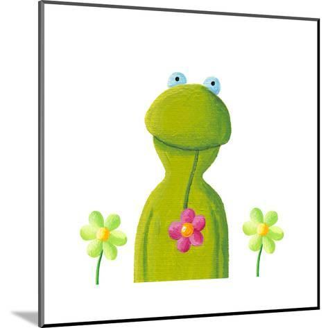 Funny Frog in the Flowers-andreapetrlik-Mounted Art Print