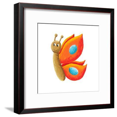 Cute Orange Butterfly-andreapetrlik-Framed Art Print