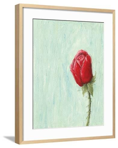 Red Rose on Light Blue Background-andreapetrlik-Framed Art Print