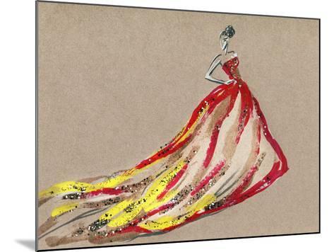 Elegant Dress .Abstract Watercolor-Anna Ismagilova-Mounted Art Print