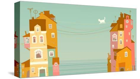 Two Houses on the Background of the Sea, Connected by Wires-polinina-Stretched Canvas Print